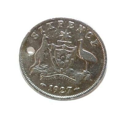 1927 Australia Coat Of Arms Sixpence Coin Silver Charm Pendant, Genuine