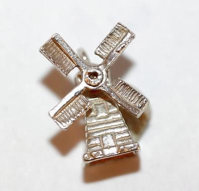Nuvo Moving Windmill Sterling Silver Vintage Bracelet Charm 2g