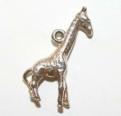 Giraffe 3d Solid Sterling Silver Vintage Bracelet Charm With Gift Box 1.5g
