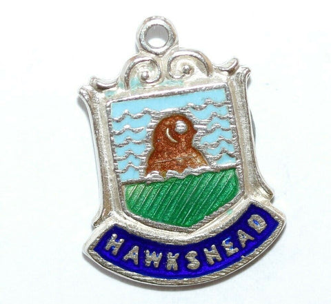 Hawkshead England Sterling Silver Enamel Travel Shield Vintage Charm With Box