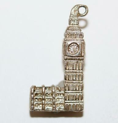 Big Ben Clock Tower London Sterling Silver Vintage Bracelet Charm 4.5g
