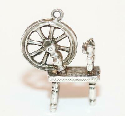 Wool Spinning Wheel Sterling Silver Vintage Bracelet Charm With Gift Box 4g