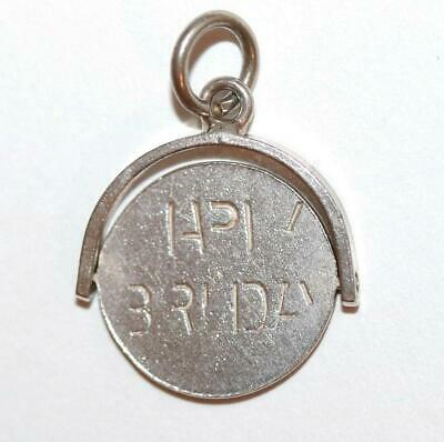 Moving Happy Birthday Spinner Sterling Silver Vintage Bracelet Charm c.1960's