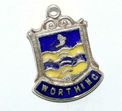 Worthing West Sussex England Sterling Silver Enamel Travel Shield Vintage Charm