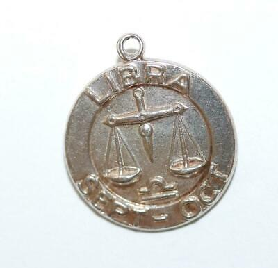 LIbra Zodiac Sept - Oct Sterling Silver Vintage Charm Pendant With Gift Box 1.7g