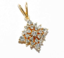 18k Yellow Gold .50 ctw Diamond Star Pendant Signed LA Sheffield England