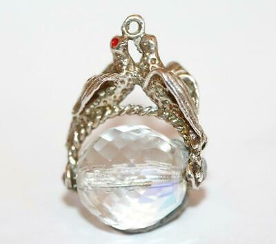 Rare Vintage Lovebirds Moving Crystal Spinner Sterling Silver Charm Pendant