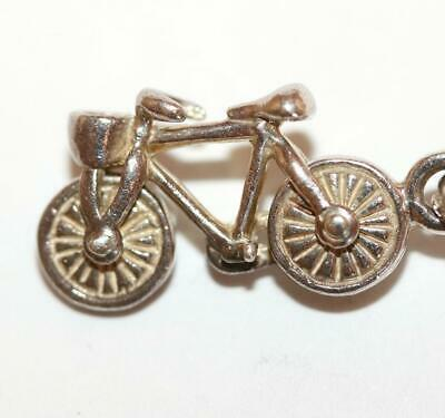 Moving Bicycle Bike Sterling Silver 925 Bracelet Charm Signed LL London England