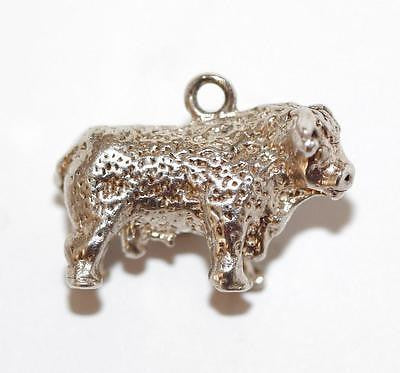 Taurus The Bull Zodiac Sterling Silver Vintage Bracelet Charm Solid Silver 6.1g