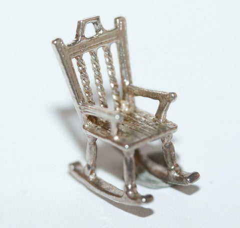 Rocking Chair Sterling Silver 925 Vintage Bracelet Charm 2.4g