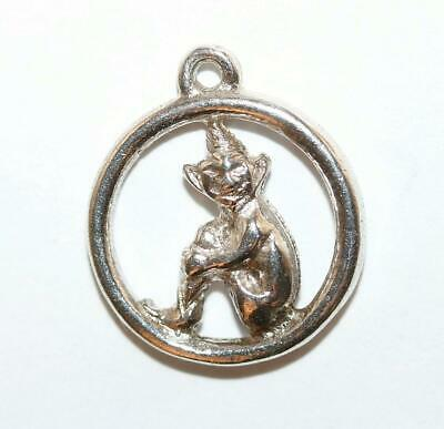 Lucky Pixie Sterling Silver Vintage Bracelet Charm Pendant With Gift Box 1.6g