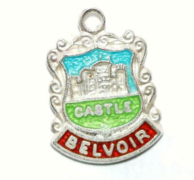 Belvoir Castle England Sterling Silver Enamel Scroll Travel Shield Vintage Charm