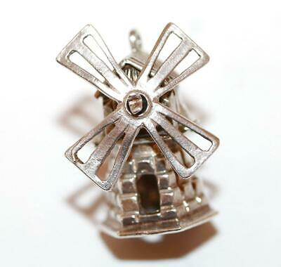 Large Moving Windmill Sterling Silver 925 Vintage Bracelet Charm 5.5g