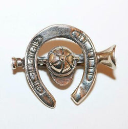 Antique Equestrian Horseshoe And Riding Cap Sterling Silver Brooch Pin c.1930