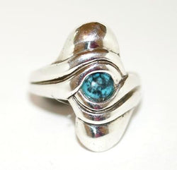 Sterling Silver 925 Southwestern Turquoise Cabochon Gemstone Ring Size 7.5
