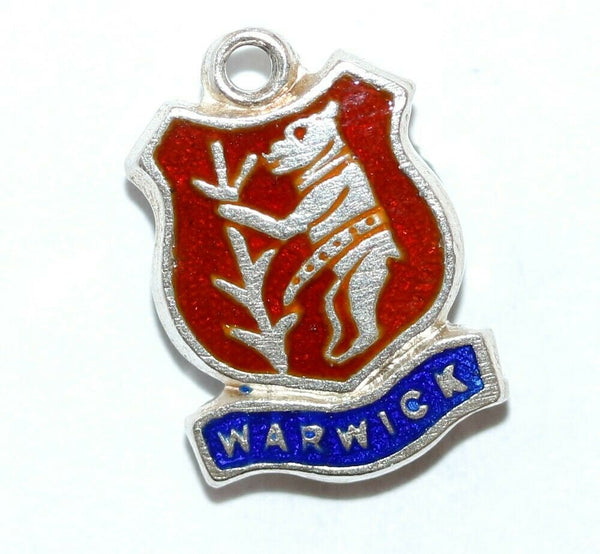 Warwick Bear Flag England Sterling Enamel Shield Vintage Charm by BI Silver