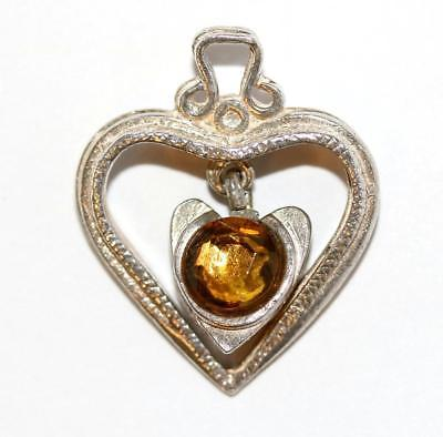 Heart With Dangling Crystal Sterling Silver Bracelet Charm Pendant 3.8g