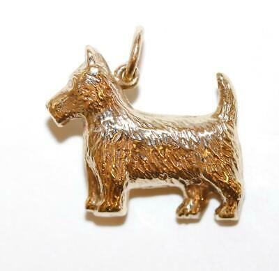 9k Yellow Gold Scottish Terrier Dog Vintage Bracelet Charm Pendant by W.H.C.