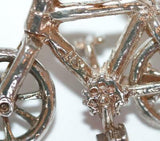 Bike With Moving Wheels Sterling Silver Bracelet Charm With Gift Box