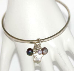 Sterling Silver 925 Slipover Bangle Bracelet, Pearl and Heart Charms Signed JS