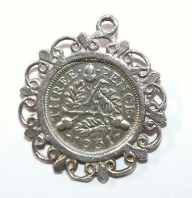 Antique 1931 Framed English 3 Pence Coin Sterling Silver Charm (Genuine)