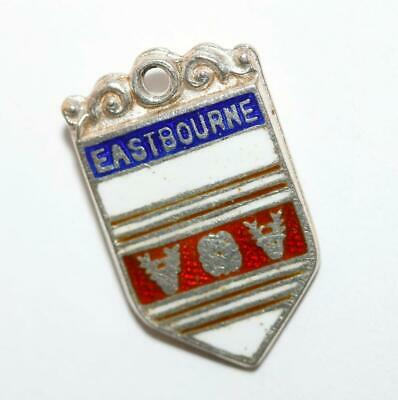 Vintage Eastbourne England Sterling Silver Enamel Travel Shield Charm Signed D&F