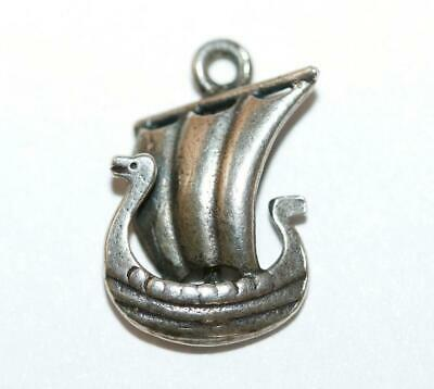 Small Viking Dragon Boat Ship 800 Silver Vintage Bracelet Charm 1.4g