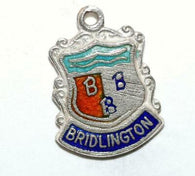 Bridlington, Yorkshire UK Sterling Silver Enamel Travel Shield Vintage Charm WBS