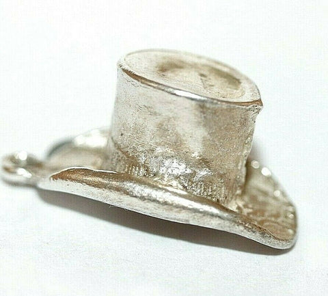 Gentleman's Top Hat Sterling Silver Vintage Bracelet Charm With Gift Box 2.1g