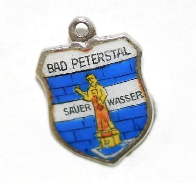 Bad Peterstal Germany Silver Enamel Travel Shield Vintage Bracelet Charm
