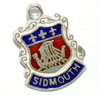 Sidmouth Town in England Sterling Silver Enamel Travel Shield Vintage Charm, WBS