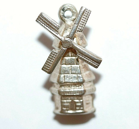 Mechanical Dutch Windmill Moving Blades 835 Silver Vintage Bracelet Charm 1g