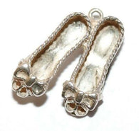 Dancing Shoes With Bows Sterling Silver 925 Vintage Bracelet Charm, Different