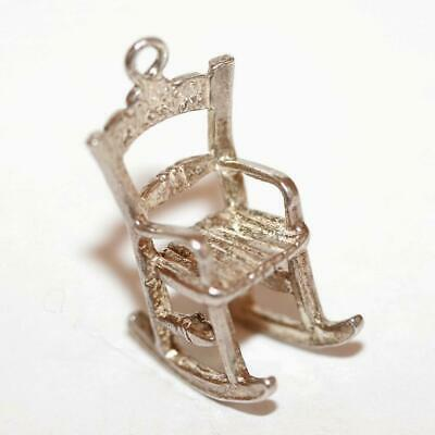 3d Rocking Chair Sterling Silver Vintage Bracelet Charm With Gift Box 2.3g