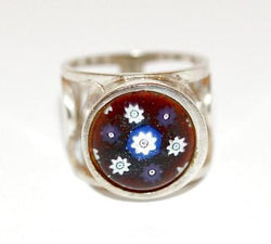 Large Sterling Silver Millefiori Handcrafted Art Glass Ring Size 7, 10.9 grams