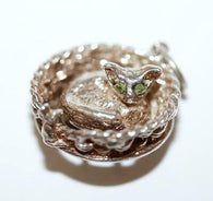 Rare Moving Cat In Basket Sterling Silver Vintage Bracelet Charm With Gift Box
