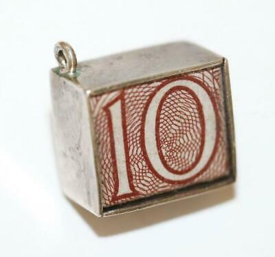 Emergency Money British 10 Shillings Sterling Silver Vintage Bracelet Charm 2.3g