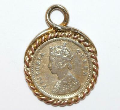 Antique British India 1874 2 Annas Silver Coin Framed Pendant Charm (Genuine)