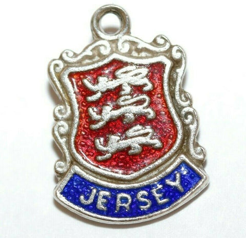 Jersey Channel Islands Sterling Silver Enamel Travel Shield Vintage Charm by ASJ