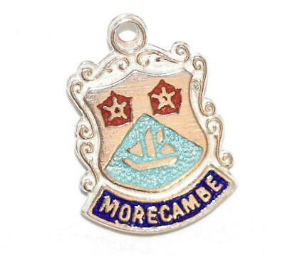 Morecambe England Sterling Silver Enamel Travel Shield Vintage Charm by WBS