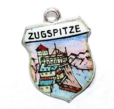 Zugspitze Germany 800 Silver Enamel Travel Shield Vintage Charm