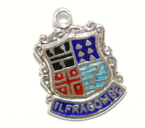 Ilfracombe England Sterling Silver Enamel Scroll Travel Shield Vintage Charm