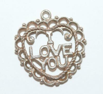 I Love You Heart Sterling Silver 925 Vintage Bracelet Charm