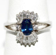 Sterling Silver 925 Blue Sapphire And Crystal Quartz Ring Size 7