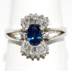 Ladies .50 ct Sapphire & Crystal Quartz Gemstone Sterling Silver Ring Size 7