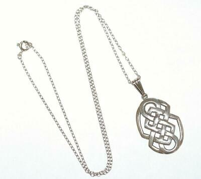 Sterling Silver 925 Large Oval Celtic Knot Design Pendant Necklace 19""