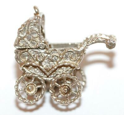 Moving Opening Ornate Baby Carriage Sterling Silver Vintage Bracelet Charm Large