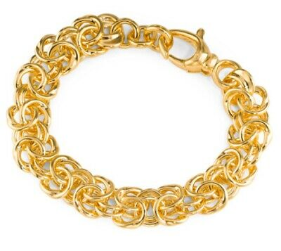 "7.75"" New Italian 14k Gold Over Resin Byzantine Link Bracelet By Soane Oro Milor"
