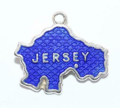 Jersey England Travel Map by WBS Sterling Silver 925 Vintage Bracelet Charm