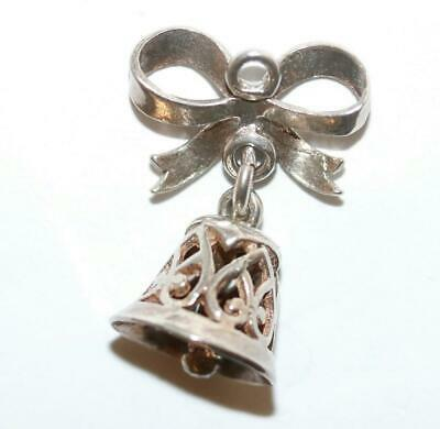 Articulated Wedding Bell Heart Detail Sterling Silver Vintage Bracelet Charm